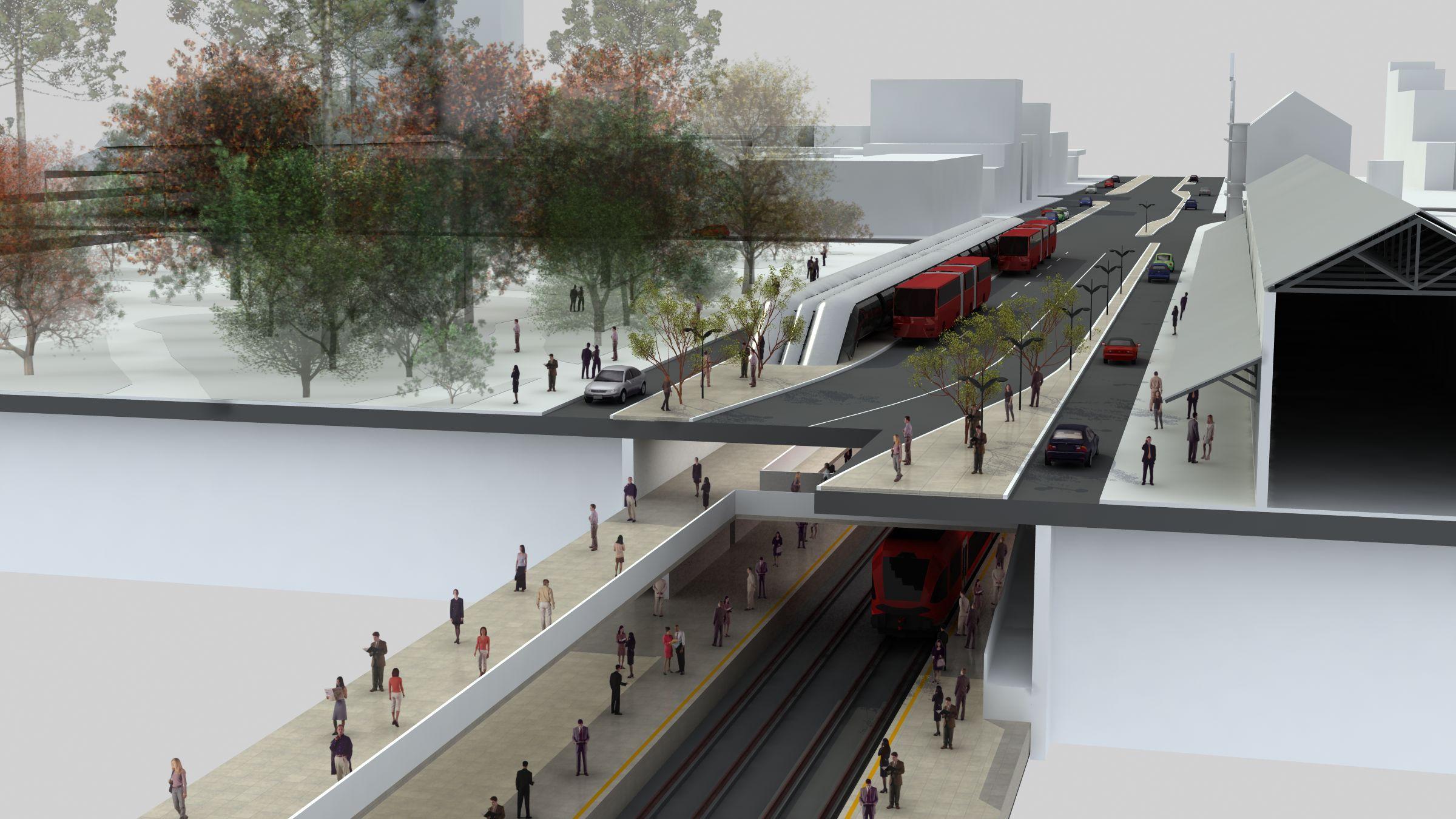 Ilustração do projeto do metrô de Curitiba obra avaliada em R$ 3,5 bilhões