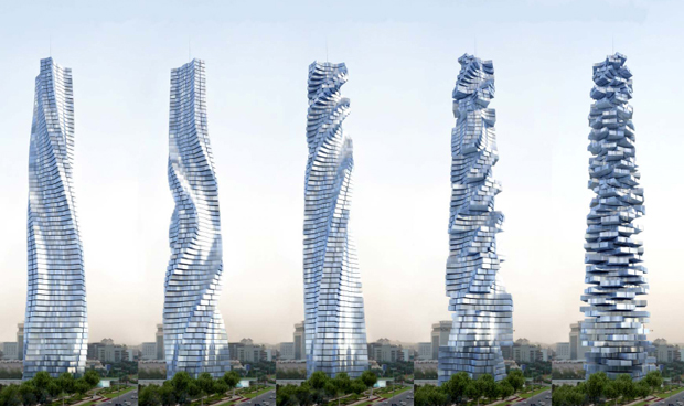 Perspectiva ilustra movimento dos andares do Dynamic Tower